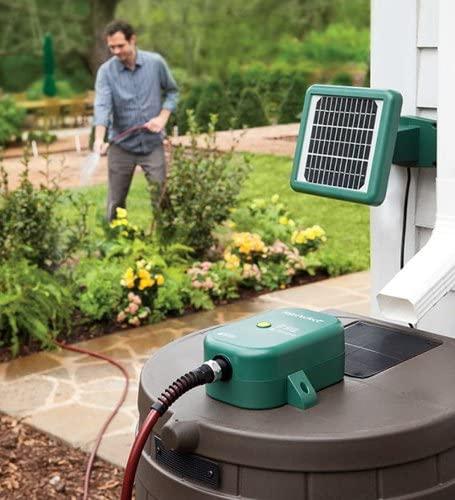Plow & Hearth Solar Powered Rain Barrel Water Pump